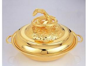 不锈钢蛇窝连盖、镀金银餐具